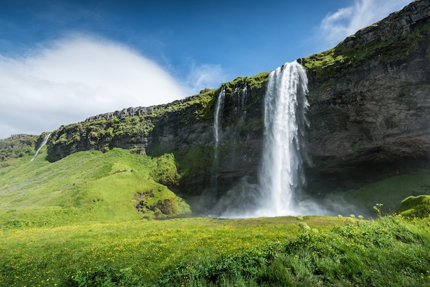 Cachoeira seljalandsfoss na islândia no verão