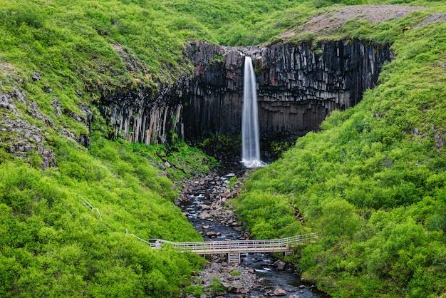 Cachoeira svartifoss no sudeste da islândia