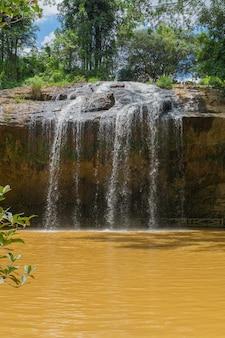 Cachoeira tropical floresta selvagem, tiro vertical