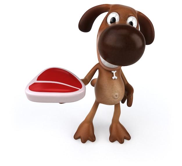 Cachorro divertido segurando um bife na mão