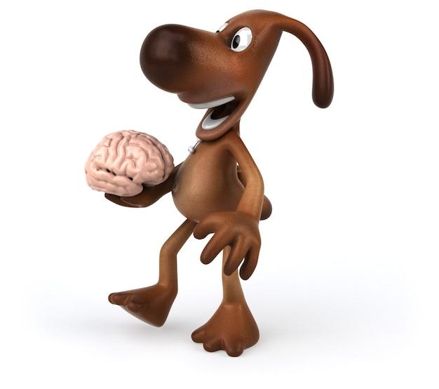 Cachorro divertido segurando um cérebro na mão