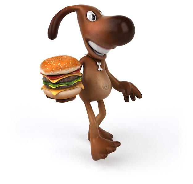 Cachorro divertido segurando um hambúrguer na mão