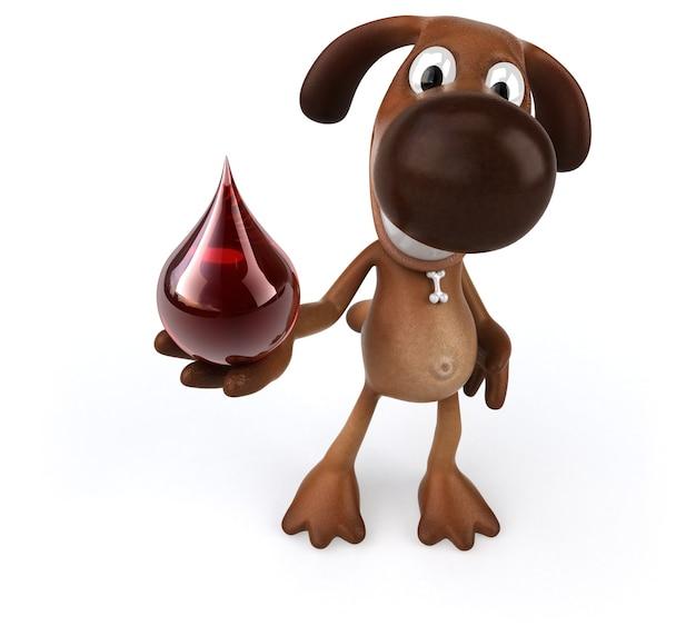 Cachorro divertido segurando uma gota de sangue