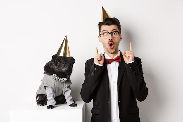 Cachorro pug preto bonito usando cone de festa e em pé perto do feliz proprietário, homem apontando os dedos para o espaço da cópia, comemorando o aniversário, fundo branco.