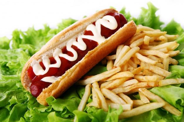 Cachorro-quente fresco e saboroso com batatas fritas