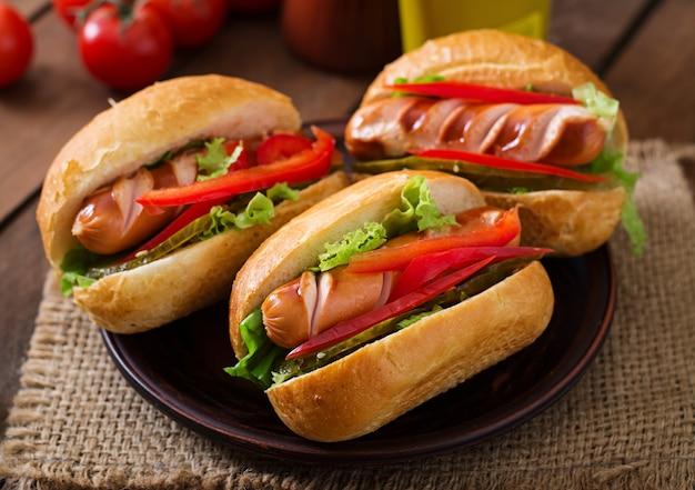 Cachorro-quente - sanduíche com picles, pimentão e alface