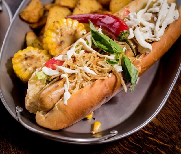 Cachorros-quentes e batatas fritas em uma louça. refeição de fast-food. restaurante.