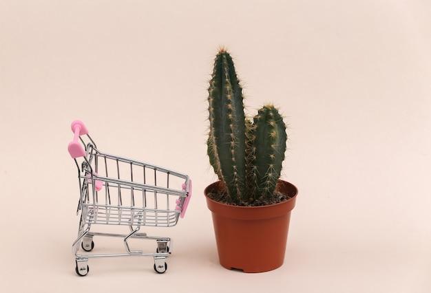 Cacto em vaso com carrinho de compras em fundo bege