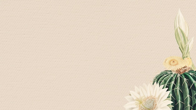 Cacto verde vintage com elemento de design de fundo de quadro de flores