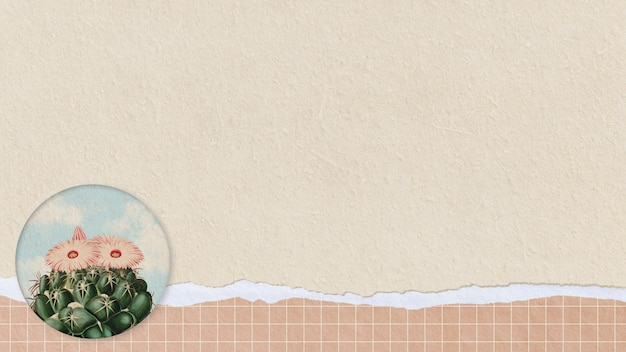 Cacto verde vintage com flor no elemento de design de fundo de papel rasgado