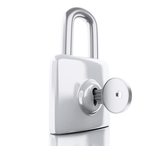 Cadeado 3d com chave. conceito de segurança.