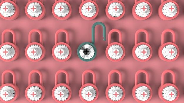 Cadeado azul aberto com combinação de fechadura de aço brilhante em meio a cadeados rosa