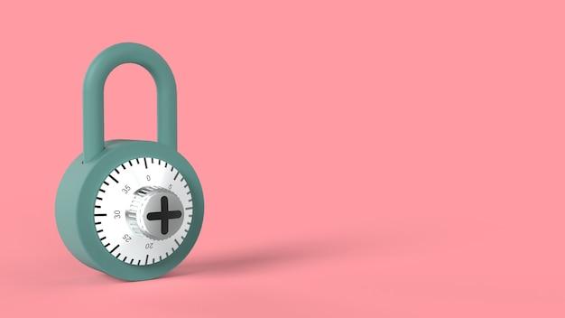 Cadeado azul suave fechado com combinação de fechadura de aço brilhante e figuras pretas em rosa