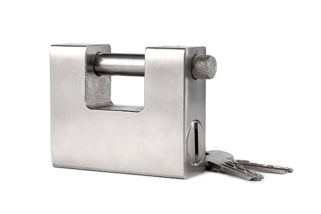 Cadeado de prata fechado isolado, objeto