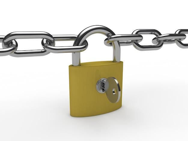 Cadeado dourado com uma corrente e uma chave