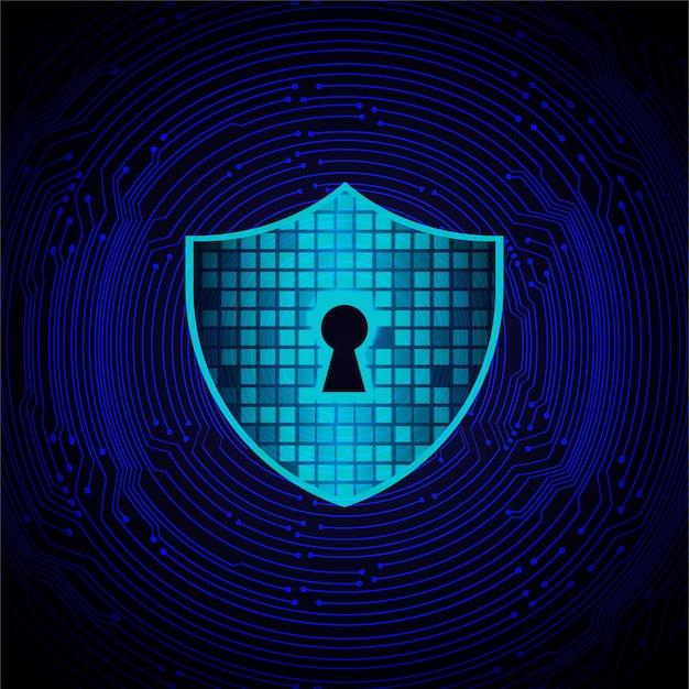 Cadeado fechado na segurança cibernética de fundo digital Foto Premium