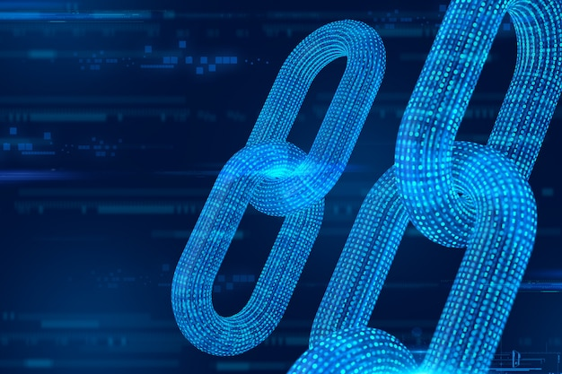 Cadeia de estrutura de arame 3d com código digital. blockchain 3d render.