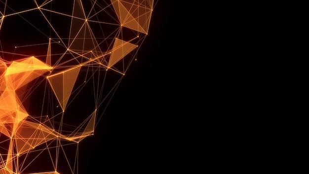 Cadeia de linhas de conexão low poly com fundo de triângulos