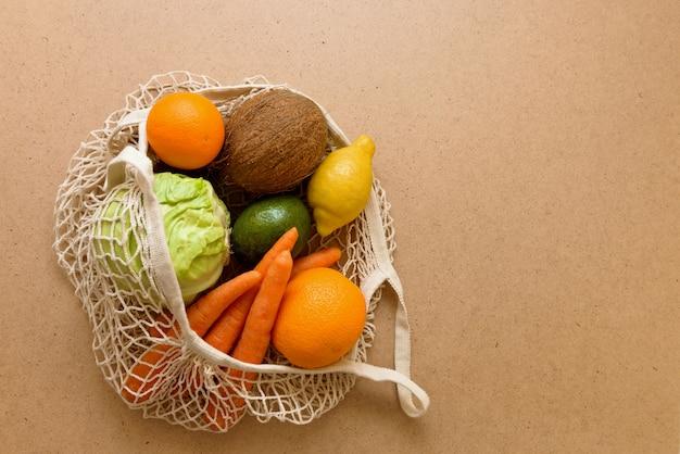 Cadeia de malha reutilizável amigável eco malha saco de compras com frutas e legumes