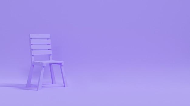 Cadeira 3d no sumário do fundo pastel. renderização 3d.