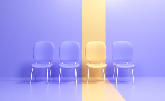 Cadeira amarela 3d destacando-se da multidão, vaga de emprego, conceito de contratação e recrutamento de negócios. ilustração 3d render