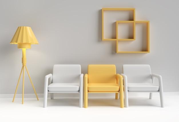 Cadeira amarela destacando-se da multidão. conceito de negócios. design de renderização 3d.