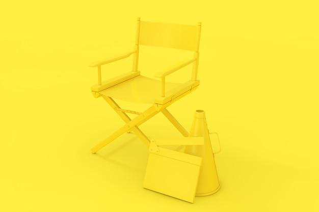 Cadeira amarela do diretor, clapper do filme e megafone no estilo duotônico em um fundo amarelo. renderização 3d