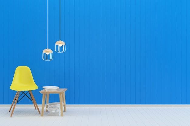 Cadeira amarela parede pastel azul branco piso de madeira textura de fundo lâmpada de livro