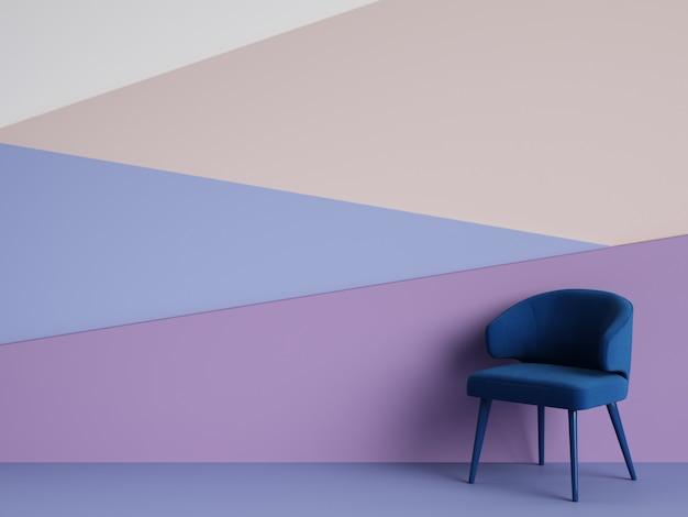 Cadeira azul sobre fundo azul e rosa com espaço de cópia