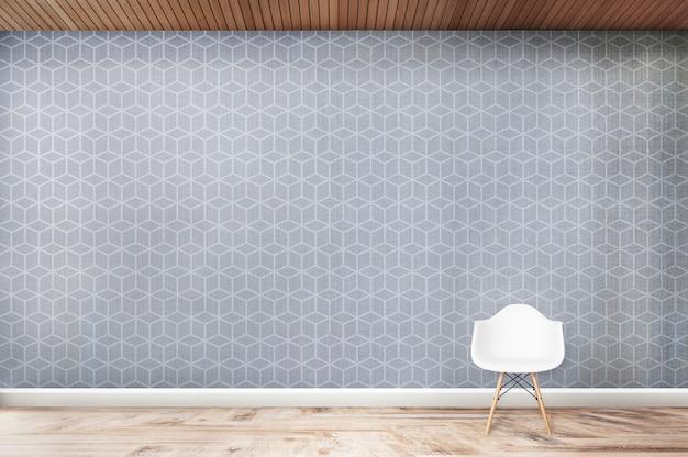 Cadeira branca contra uma sala de parede cúbica