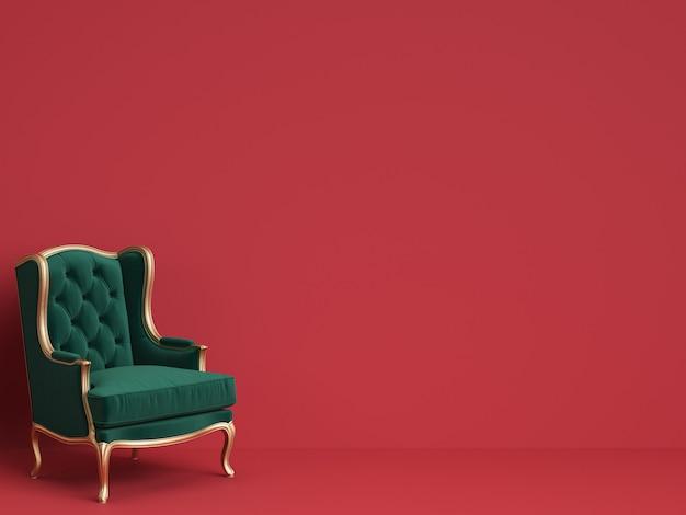 Cadeira clássica em verde esmeralda e ouro com espaço de cópia