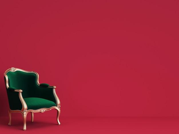 Cadeira clássica em verde esmeralda e ouro na parede vermelha com espaço de cópia