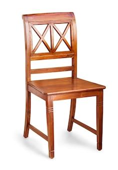 Cadeira confortável de madeira isolada no fundo branco com traçado de recorte