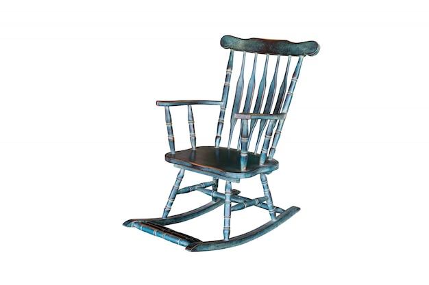 Cadeira de balanço verde isolada no branco com trajeto de grampeamento.