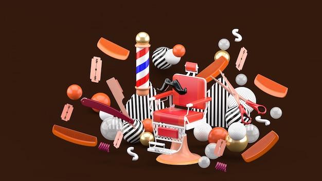Cadeira de barbeiro e acessórios de barbeiro entre as bolas coloridas no marrom. renderização em 3d.