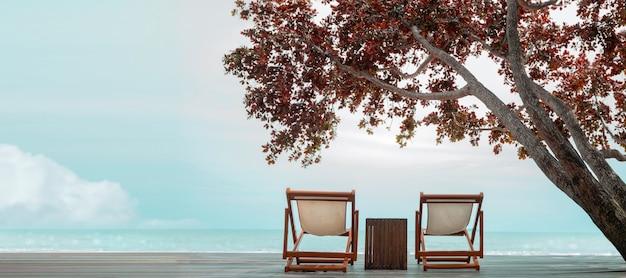 Cadeira de casal vazia no convés à beira-mar