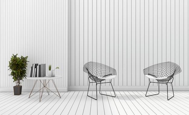 Cadeira de design moderno branco mínimo de renderização 3d com planta