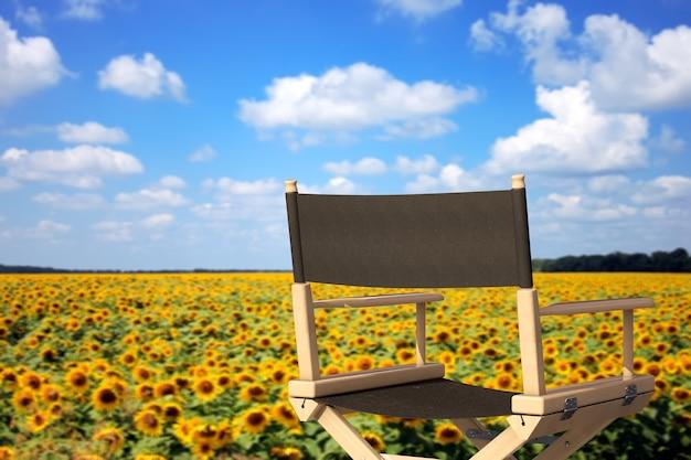 Cadeira de diretores de cinema na frente do campo de girassóis em um fundo branco. renderização 3d