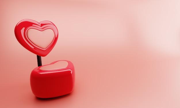 Cadeira de doces vermelho com fundo rosa. ilustração 3d.