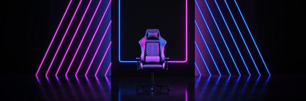 Cadeira de jogo para jogadores profissionais conceito cyber sport arena renderização em 3d