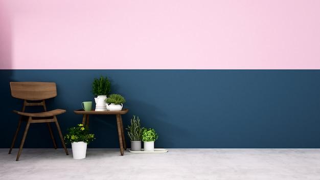 Cadeira de madeira com parede azul escura e parede rosa na sala de estar