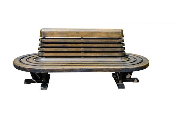 Cadeira de madeira da estação ferroviária isolada
