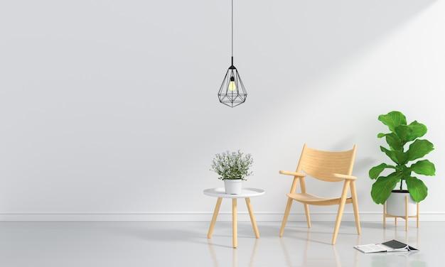 Cadeira de madeira e mesa no quarto branco