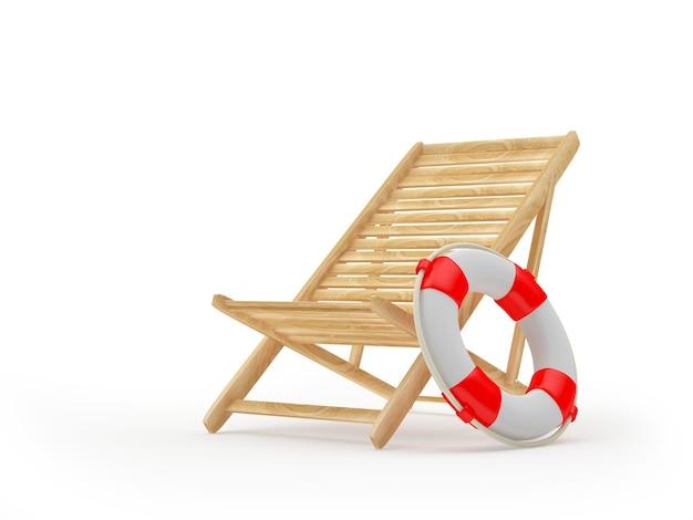 Cadeira de praia de madeira com bóia salva-vidas