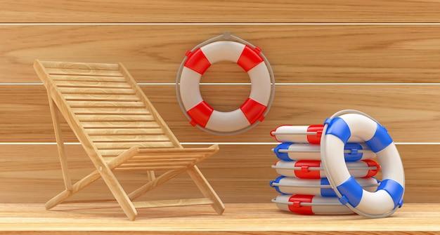 Cadeira de praia de madeira com uma pilha de bóias salva-vidas