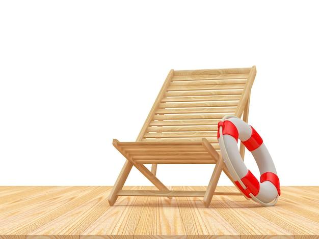 Cadeira de praia vazia de madeira com bóia salva-vidas