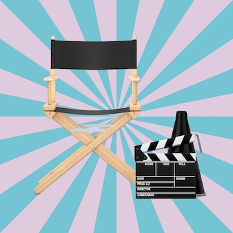 Cadeira do diretor, badalo de filme e megafone em um fundo rosa e azul em forma de estrela vintage. renderização 3d