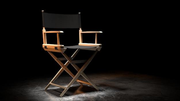 Cadeira do diretor, movie clapper e megafone em renderização 3d