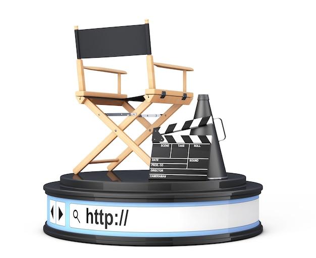 Cadeira do diretor, movie clapper e megafone na barra de endereços do navegador