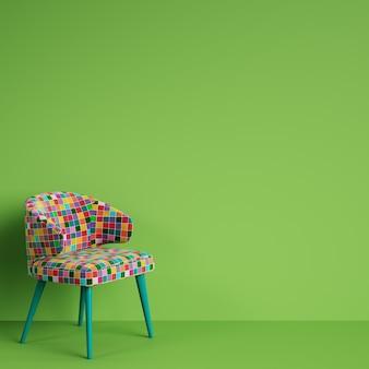 Cadeira em estilo colorido pop art na parede verde com espaço de cópia. conceito mínimo.